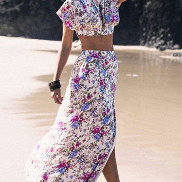 Open Back Lace Up Florals Crop Top With Split Skirt