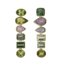 Green and Grey Tourmaline Gypsie Earrings