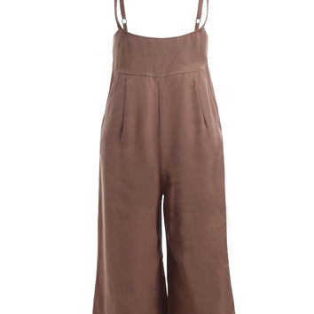 Chic Pure Color Loose Overalls
