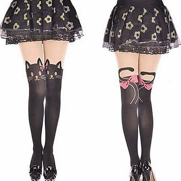 1 Pair Women's Cartoon Print Tights/Nylon Stockings 8 Designs