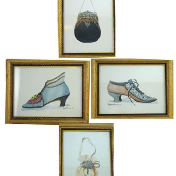 Set of Four Art Prints Framed Ladies  Victorian Accessories   (AB)