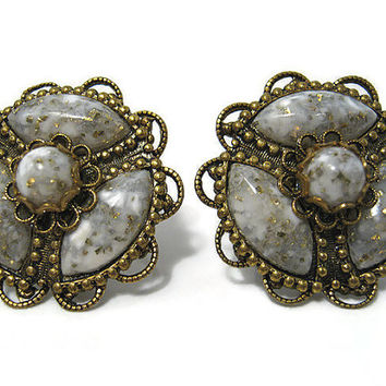 Vintage Earrings Antiqued Gold Tone Grey Filigree Screw Back Mid Century Mod Womens Jewelry
