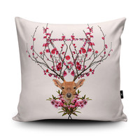 Deer Cushion Deer Pillow Flowery Garden Stag Cushion by Wraptious