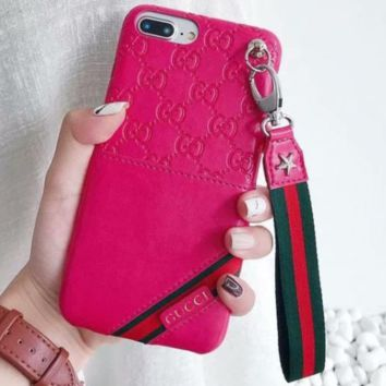 GUCCI Fashion new more letter Leather lanyard stripe couple mobile phone case soft shell Rose red