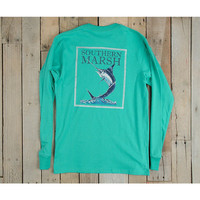 Southern Marsh Blue Marlin Fishing Tee- Jockey Green