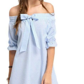 Off The Shoulder Striped Sexy Women Dresses Casual New Cute Blue Bow Half Sleeve Shift Dress