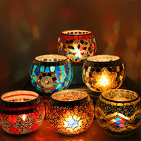 Handmade Glass Mosaic Candle Holder Europe Classic Vintage Candelabrum Creative Candlestick Decoration 6 Colors