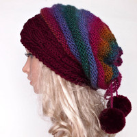 Cable Knit Oversized Beret Neck Warmer Slouchy Merino Mohair Wool Hat beanie Rainbow Stripped Tube Scarf  Pom Poms Chunky Handmade