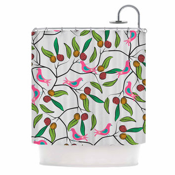 "Famenxt ""Birds World"" White Pink Shower Curtain"