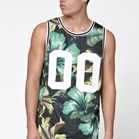 On The Byas Hawaiian Floral Mesh Jersey Tank Top - Mens Tee - Black/Green