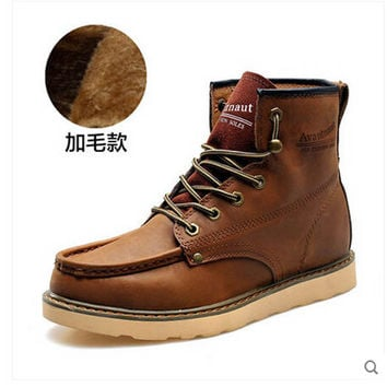 Real Leather Shoes Skidproof Cotton Padded Chukka Work Snow Military Winter Boots Casual Crazy Horse Business Pantshoes Male