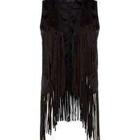 Black Suedette Fringed Sleeveless Jacket