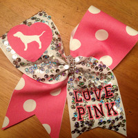 Cheer bow , cheerbow, cheerbows, cheer bows,pink cheer bow , silver  cheer bow , cheerleader, Victoria secrets cheer bow