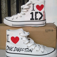 One Direction Inspired Custom Converse Sneakers 100% Hand Paint