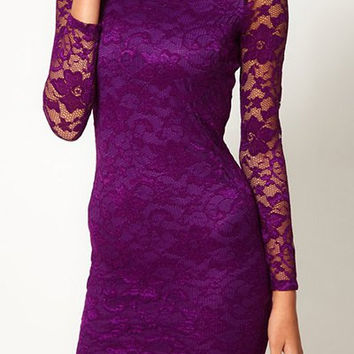 Purple Bodycon Lace Mini Dress
