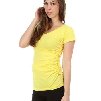 YELLOW V-NECK BASIC TEE WITH CINCHED SIDES