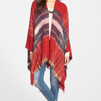 Junior Women's Woven Heart Plaid Blanket Poncho