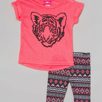 Girls Luv Pink Fuchsia Burnout Tiger Tunic & Tribal Shorts - Infant & Toddler | zulily
