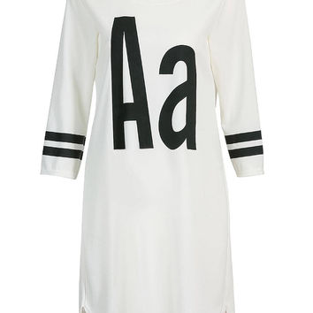 "White ""Aa"" Letter Printed Dress"