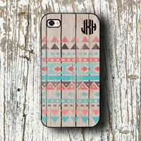 Iphone 5c case, fits iPhone 4/4s/5/5s/5c - Wood pattern with Aztec design - protective iPhone 5s case, tribal iPhone 4 iPhone monogram (1263