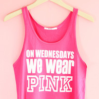 On Wednesdays We Wear Pink Crop Tank Top | Yotta Kilo