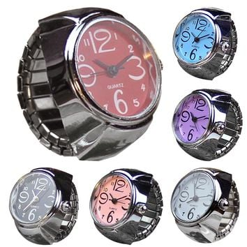 Quartz Dial Analog Watch Creative Stainless Steel Cool Elastic Finger Ring