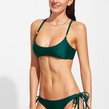 Dark Green Cross Back Bikini Set
