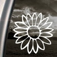 Flower White Sticker Decal Notebook Car Laptop Art Bumper White Sticker Decal