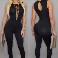 Sexy Lace-up Bust Deep V Neck Jumpsuit