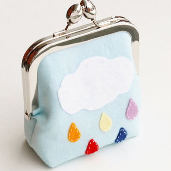 Coin Purse, Rainbow Cloud and Raindrops, Wool Felt Applique Pouch in Light Blue Linen