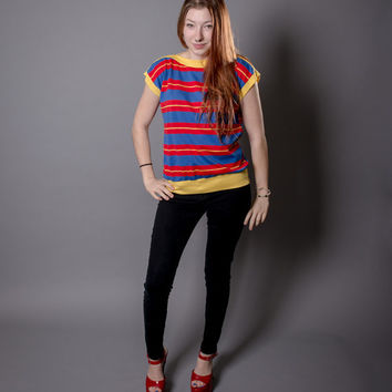 Red, Blue, & Yellow 1970s Sleeveless Fun Top