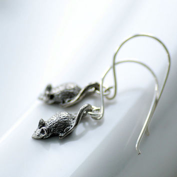 Mouse Earrings, Animal Jewelry, Halloween Earrings, Pewter Mouse Charm, Sterling Silver, Novelty Jewelry, Gag Gift - Not Even a Mouse