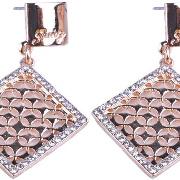 Gold Plated Squre Rhinestone Stud Earring ESE0000348
