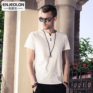 6 color solid t shirt men cotton V-neck clothing base fit casual men t-shirts