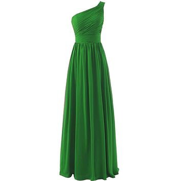 Real Photos Green Bridesmaid Dress One Shoulder Chiffon Ruffled Long Party Dress Plus Size Delicate Bridesmaids Dresses 2017