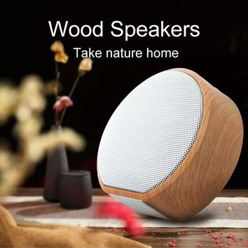 Retro Wood Grain Bluetooth Speaker Wireless Subwoofer Outdoor Portable Sound Box Support AUX TF Card for mobile smart phone