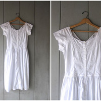 Vintage 80s White Dress Simple Cotton Midi Dress Cap Sleeve Summer Day Dress Floral Cutwork Dress Side Pockets Dress Womens Small