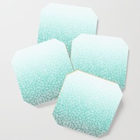 Gradient turquoise blue and white swirls doodles Coaster by savousepate