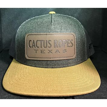 Hooey Cactus Ropes Texas Rodeo Patch Hat CR042 Gray Team Calf Roping