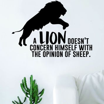 A Lion Doesn't Concern Himself Opinion Sheep Quote Wall Decal Sticker Room Bedroom Art Vinyl Inspirational Decor Motivational Inspirational Animal Gym Fitness