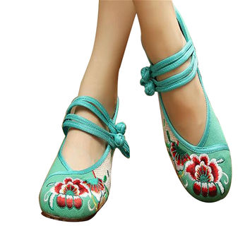 Chinese Embroidered Floral Shoes Women Ballerina Mary Jane Flat Ballet Cotton Loafer Green
