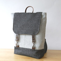 Melange gray wool and Vintage denim Wool Backpack by BagyBag