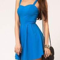 Blue Sleeveless Mini Dress