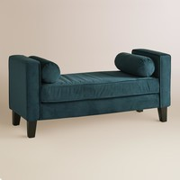 Azure Velvet Taylor Bench with Bolsters