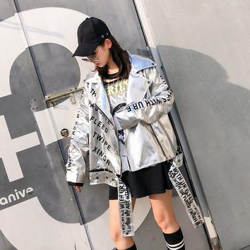 Trendy TREND-Setter 2018 Autumn Letter Silver PU Leather Jacket Women Hip Hop Style Metal Chain Stitching Loose Jacket Coat With Eyelet AT_94_13