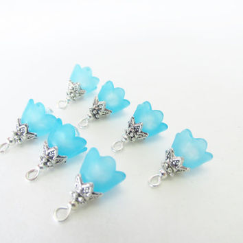 Blue Flower Cap Charms - 7 Pcs. Light Blue Lucite Crystal Charms - Handmade Beaded Charms - DIY Jewelry Parts - Crystal Jewelry Supplies