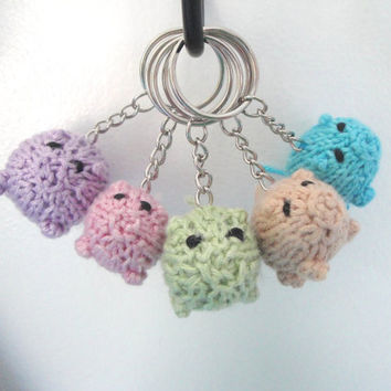 Pig Keychain ~Choose a Color~ Piggy Piglet, Hand Knit, Kids Children Girls Boys Tweens Teens Fun Gift