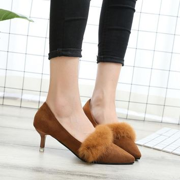 Fur Decoration Pointed Toe Low Kitten Heel Party Shoes