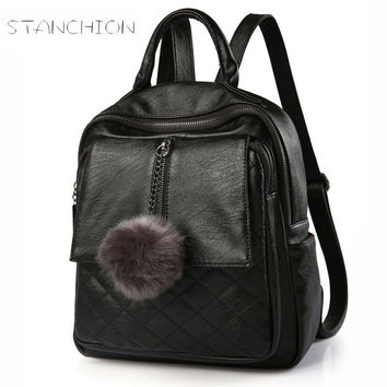 Women Backpack Faux Leather Daily Portable Multifunctional Solid Vintage Zipper Shoulder Shopping Personalized Bags