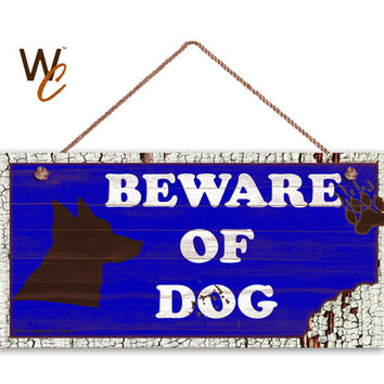"Beware of Dog Sign, Rustic Decor, Dog Bite Sign, Blue Distressed Wood Sign, Dog Silhouette, Weatherproof, 5"" x 10"" Sign, Made To Order"